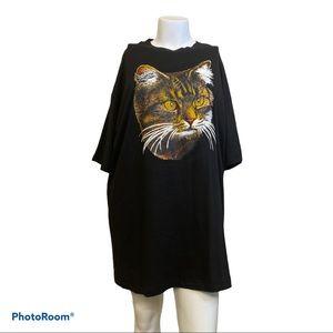 Kitten/Cat face black oversized top/t-shirt dress